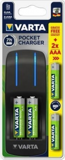 "Battery charger, AA/AAA, 4x2100 mAh AA+ 2x 800 mAh AAA, VARTA ""Pocket"""