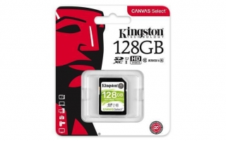 "Paměťová karta SDXC ""Canvas Select"", 128GB, Class 10/U1, 80/10 MB/s, KINGSTON"