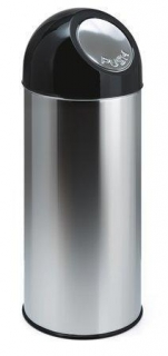 Push top wastebin, 55 l, metal, VEPA BINS, silver/black