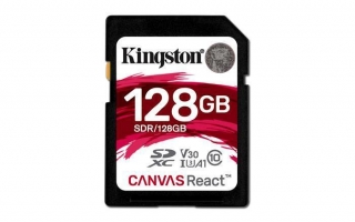 "Paměťová karta ""Canvas React"",  SDXC, 128GB, C10/U3/V30/A1, 100/80 MB/s, KINGSTON"