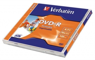 DVD-R 4,7GB, 16x, Printable, Verbatim, jewel box