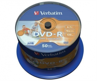 DVD-R 4,7GB, 16x, Printable, no-ID, Verbatim, 50-cake