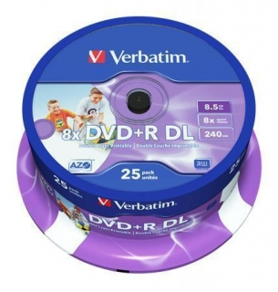 DVD+R DL, 8,5GB, 8x, Printable, no-ID, Verbatim, Double Layer, 25-cake
